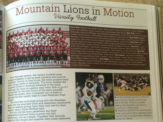 The football team photo in the 2016 Red Mountain High