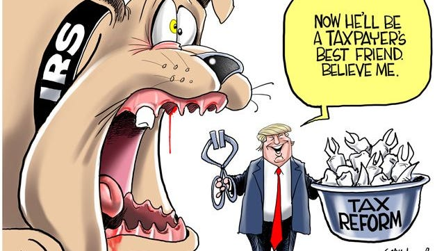 Treasury Secretary Steve Mnuchin says that President Trump wants to simplify the personal tax code by cutting rates. Will this take some of the teeth out of the IRS? Commentary by Gary Varvel