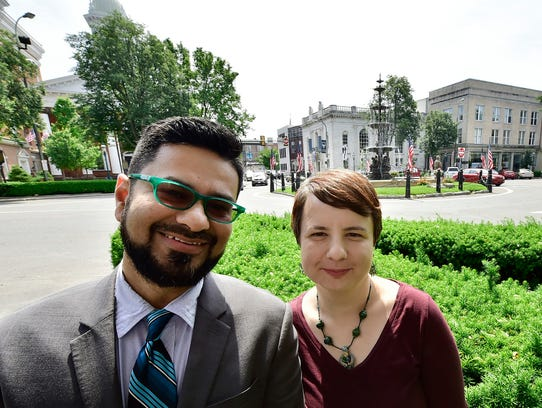 Amer Chaudhry and his wife Jasmina Ademovic will open Falafel Shack at 9 N. Main Street, at Memorial Square, Chambersburg. This photo was taken of them facing their new restaurant, which looks out over the square.