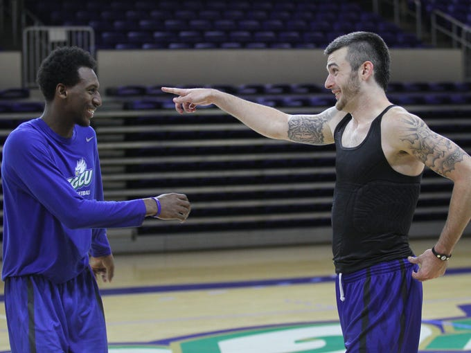 The FGCU men's basketball team practices on Friday,