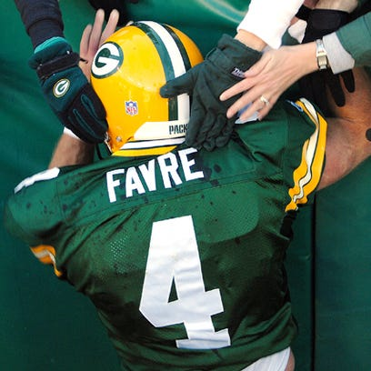 Green Bay Packers quarterback Brett Favre during a