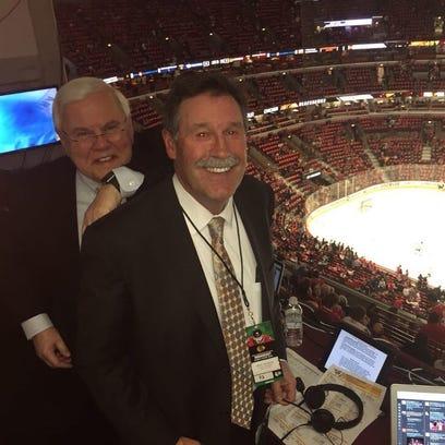 Predators announcers Pete Weber, left, and Brent Peterson