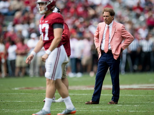 Alabama head coach Nick Saban during the A-Day Game at Bryant-Denny Stadium on the University of Alabama campus in Tuscaloosa, Ala. on Saturday April 21, 2018.
