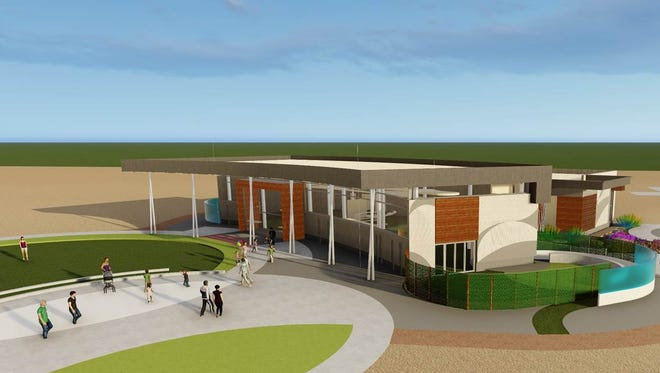 A rendering shows the plans for Heroes Regional Park Library in Glendale.