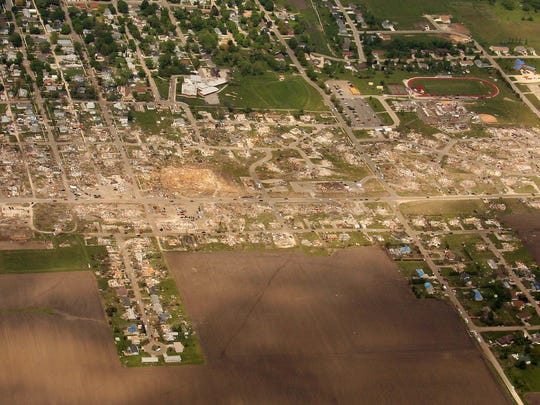 New Aerial photo of Parkersburg, Iowa, taken Wed. 28th,