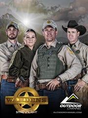 "Game wardens Brett Logan, Kqyn Kuka, Brian Golie and John Lesofski of the Great Falls-based Region 4 of Montana Fish, Wildlife and Parks are among the Montana game wardens featured on the Outdoor Channel program ""Wardens."""