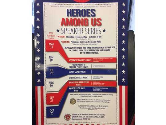 The 2018 Heroes Among Us Speaker Series poster of events.