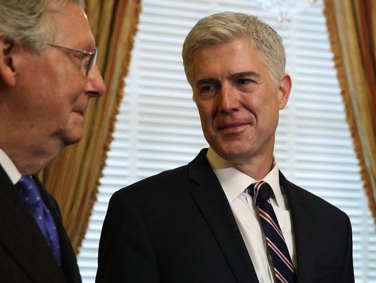 Supreme Court Nominee Judge Neil Gorsuch Meets With Sen. Mitch McConnell (R-KY) On Capitol Hill