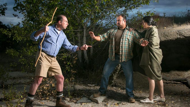 "Delaney (Jeff McGrath, left) clashes with Candido (Adam Saucedo) and America (Elizabeth Murillo) in the canyon where the couple are living near Delaney's house in ""Tortilla Curtain"" in the Studio Theater at The Western Stage"