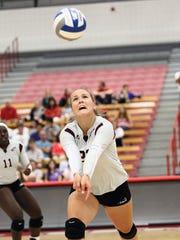 Petra Jerabkova bumps the ball vs. Sacred Heart University in Fairfield, Conn., on Sept. 7.