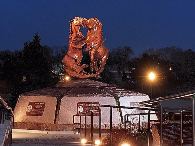 The Fighting Stallions Memorial in Pierre honors the