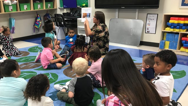 Students in Stacy Bristow's pre-kindergarten class at the Abilene Independent School District's Long Early Learning Center review rules with their teacher on the first day of classes Tuesday, Aug. 29, 2017.