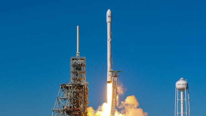 A SpaceX Falcon 9 rocket lifts off from Pad 39A at Kennedy Space Center in Titusville, Fla. The rocket is carrying the Koreasat 5A communications satellite.