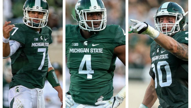 The spotlight will be on quarterback Tyler O'Connor, left, Malik McDowell, center, and Riley Bullough this week as MSU faces a telling test at Notre Dame.