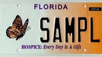 A Florida license plate supports hospices.
