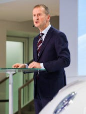 The head of Volkswagen core brand Herbert Diess speaks at a news conference at the Volkswagen headquarters in Wolfsburg, northern Germany