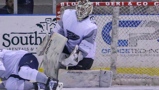 Ice Flyers goaltender Brian Billett, shown in Dec. 30 game  will become the weekend starter after another goalie shuffle to the ECHL leaves team scrambling again before weekend series that begins Friday at home against Birmingham.