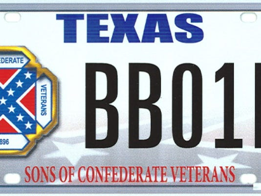 This image provided by the Texas Department of Motor Vehicles shows the design of a proposed Sons of Confederate Veterans license plate.  The Supreme Court on March 23, 2015, will weigh a free-speech challenge to Texasí decision to refuse to issue a license plate bearing the Confederate battle flag. Specialty plates are big business in Texas, where drivers spent 17.6 million last year to choose from among more than 350 messages the state allows on the plates.  (AP Photo/Texas Department of Motor Vehicles)