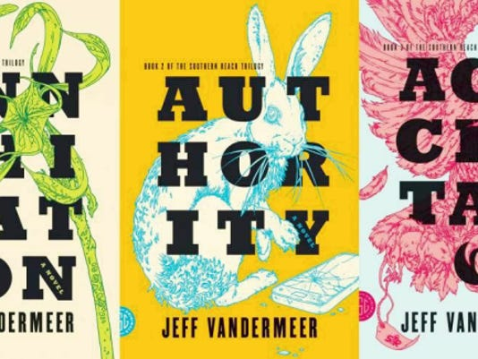 The Southern Reach Trilogy by Jeff Vandermeer. Book 1 Annihilation, Book 2  Authority and Book 3 Acceptance.