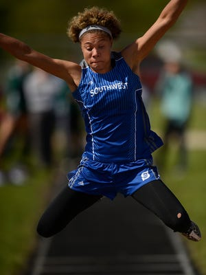 Green Bay Southwest senior Natisha Hiedeman won WIAA Division 1 regional titles in the girls high, long and triple jump Tuesday at Bay Port.