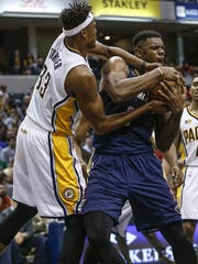 Indiana Pacers center Myles Turner (33) and New Orleans