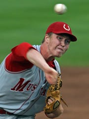 Former Dallas Center-Grimes pitcher Tyler Peyton during