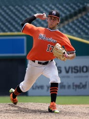 Brother Rice's Karl Kauffmann holds off Orchard Lake St. Mary's to help his team win 5-1 at Comerica Park during the Catholic League finals Thursday May 26, 2016 in Detroit.
