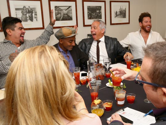"(L-R) Chef Aaron Sanchez, Marcus Samuelsson, Geoffrey Zakarian and Scott Conant have fun at the Best Bloody Mary Brunch in New York City in October 2015. All four are regular judges on Food Network's ""Chopped."""