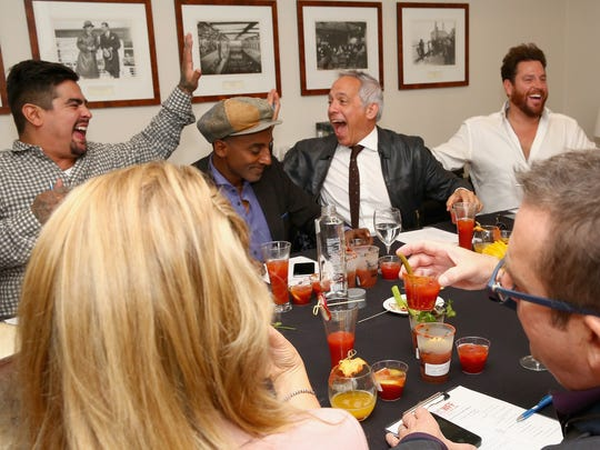 """(L-R) Chef Aaron Sanchez, Marcus Samuelsson, Geoffrey Zakarian and Scott Conant have fun at the Best Bloody Mary Brunch in New York City in October 2015. All four are regular judges on Food Network's """"Chopped."""""""