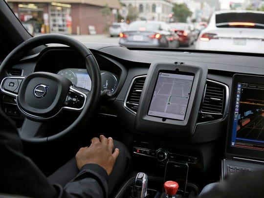 Uber driverless car in San Francisco on Dec. 13, 2016