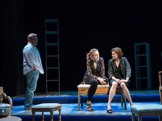 "From left, Griff (Todd Cerveris), Lexie (Olivia Cygan) and Nora (Mary Bacon) in the final scene of Allyson Currin's ""Sooner/Later."" The world premiere production of the play runs through April 21 in the Playhouse in the Park's Shelterhouse Theatre."