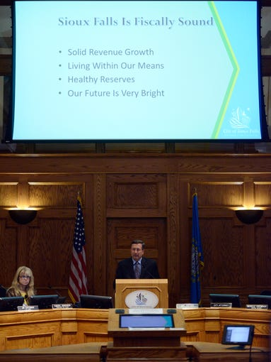 Mayor Mike Huether presents his annual State of the City address to city council Wednesday, March 26, 2014.