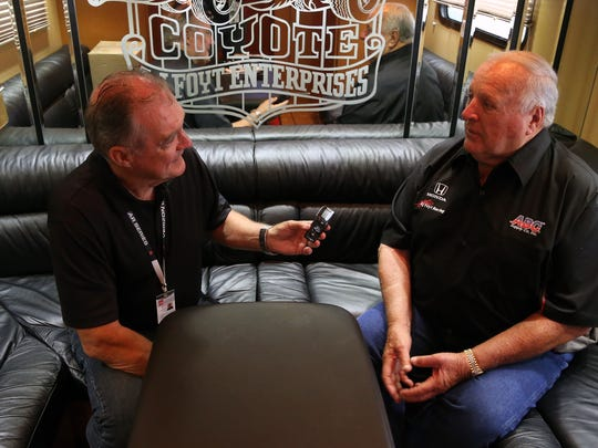 A.J. Foyt talks about his racing career with Free Press reporter Mike Brundell before the Verizon IndyCar Series races Saturday, May 30,2015 on Belle Isle in Detroit.