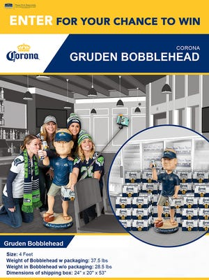 You can win this 4-foot-tall Jon Gruden bobblehead, sponsored by Corona beer, through Monarch Beverage's giveaway contests.