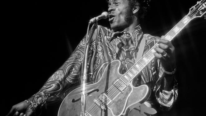 Chuck Berry performing at the Las Vegas Hilton on March, 8 1972.