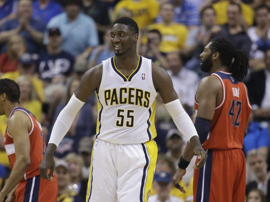 Indiana Pacers' Roy Hibbert in action during the first half of game 2 of the Eastern Conference semifinal NBA basketball playoff series against the Washington Wizards Wednesday, May 7, 2014, in Indianapolis.