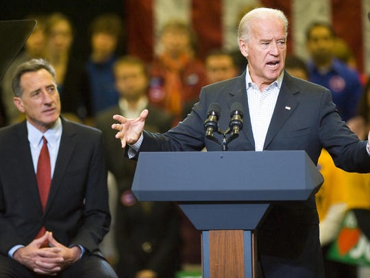 Vice President Joe Biden appears at a rally in support