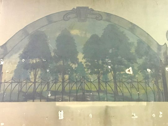 One of the murals discovered as construction of the Grinnell Branch of the Peace Tree Brewing Co. location on Main St. was underway.