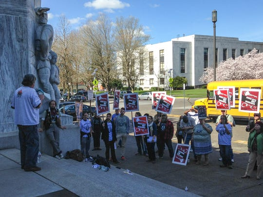 Paul Boden, executive director of the Western Regional Advocacy Project, speaks at a Capitol rally Thursday, March 12, for the proposed Oregon Right to Rest Act.