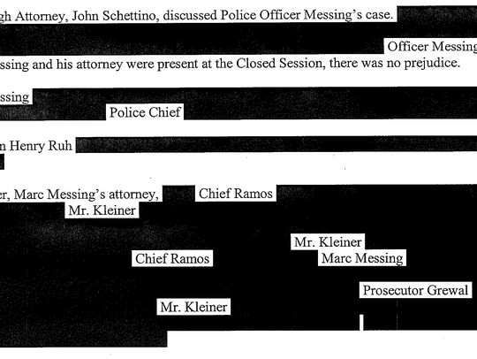 A portion of the heavily redacted meeting minutes Wolosky