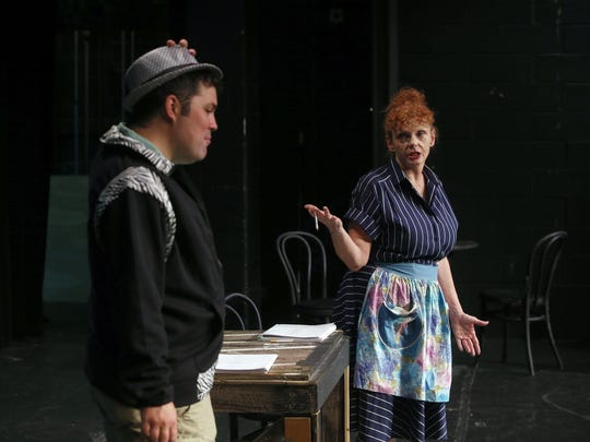 "Kathy Buterbaugh (as Gladys Calhoun) rehearses a scene with her son, Anthony Vitalo (Huey Calhoun) as they prepare for the Wilmington Drama League's ""Memphis"" to be performed in September."
