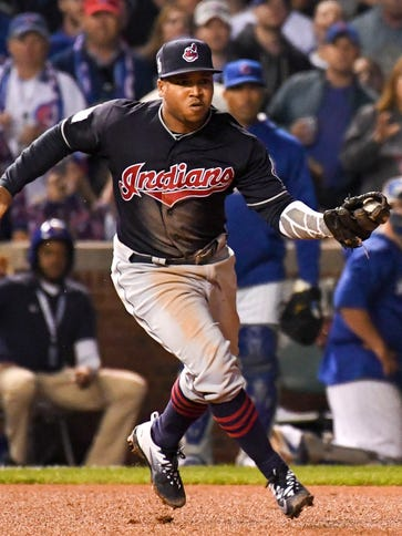 Cleveland Indians third baseman Jose Ramirez (11) fields