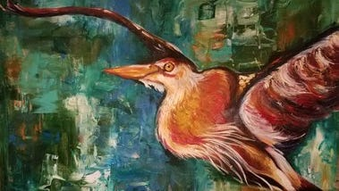 """""""Heron"""" by Jessica Bledsoe is one of many pieces at Dogwood Arts' SYNERGY: Student & Art Educator Exhibitions at Clayton Center for the  Arts."""