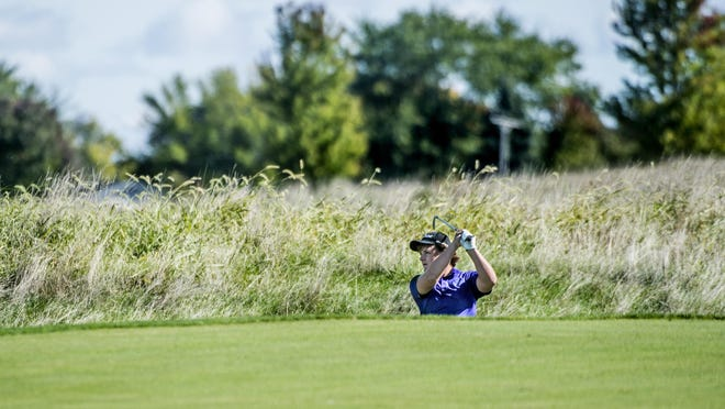 Canton's Jackson Gray hits back onto the 10th fairway after an errant drive at Metamora Fields in the Mid-Illini Conference golf tournament Thursday, October 1, 2020 in Metamora.
