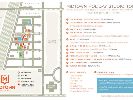 Map of the holiday studio tours