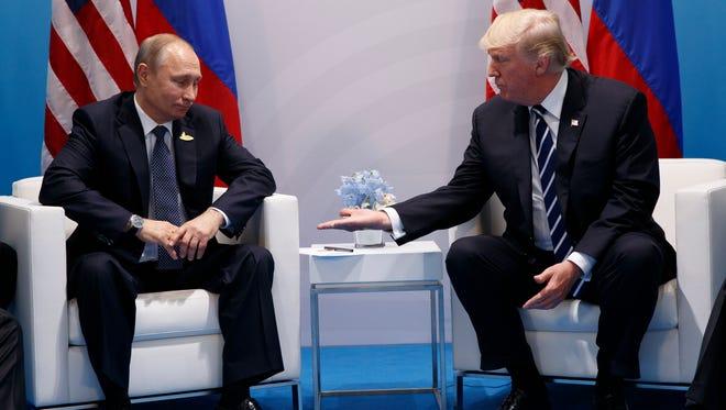 President Trump and President Vladimir Putin, in Hamburg on Jully 7, 2017.
