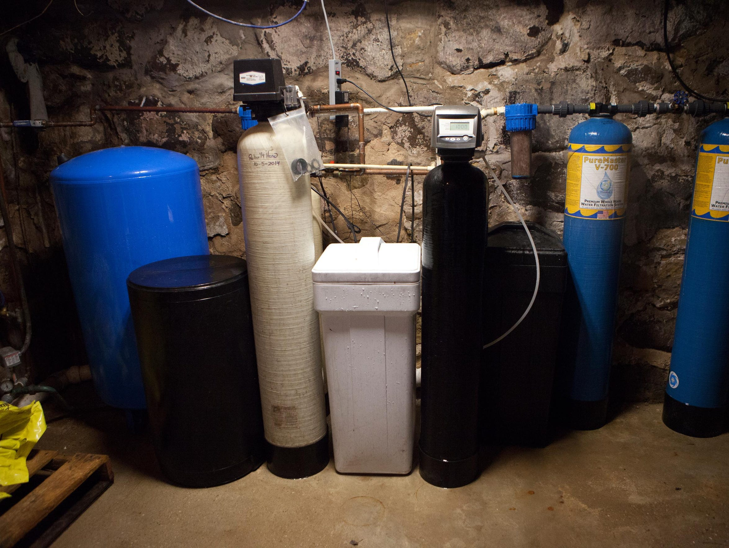 The water filtering system in the basement of Doug