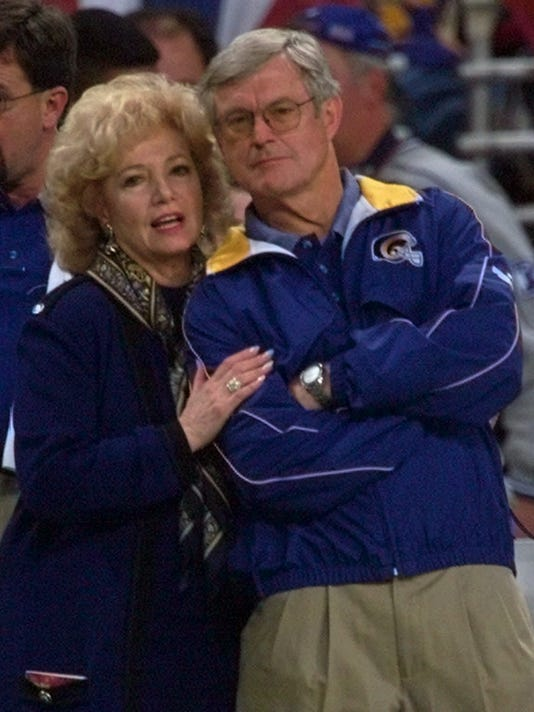 FILE - In this Jan. 16, 2000, file photo, St. Louis Rams owner Georgia Frontiere, left, talks with head coach Dick Vermeil during the final minutes of the NFC divisional playoff game against the Minnesota Vikings in St. Louis. The Rams host Tampa Bay on Thursday night, Dec. 17, 2015,  in what could be the team's final home game in St. Louis as NFL owners weigh the possibility of allowing the franchise to move back to Southern California.  (AP Photo/J. Pat Carter, File)