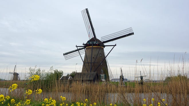 These windmills are in Kinderdijk, a village in the  South Holland province of the Netherlands.
