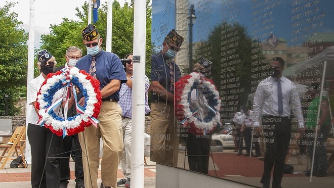 A wreath is placed at the Korean War Memorial in Worcester during a ceremony marking the 70th anniversary of the start of that war Thursday, June 25, 2020.